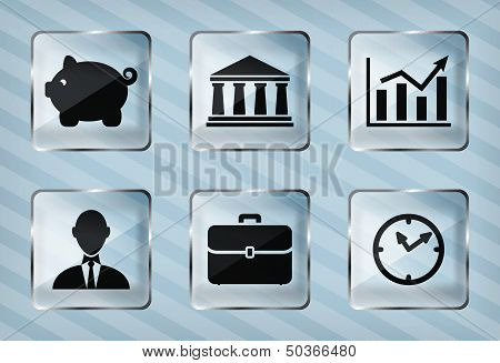 set of transparency business icons on a striped background