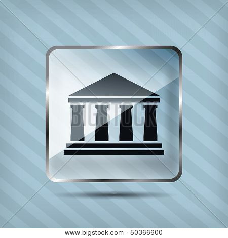 Glass Bank Icon On A Striped Background