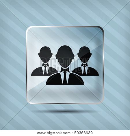 glass group of businessman icon on a striped background