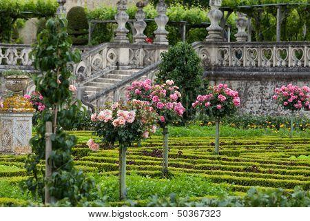 Kitchen garden in Chateau de Villandry. Loire Valley France
