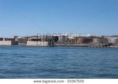 Cisterns In The Port Of Genoa, Italy