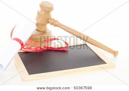 Gavel With Degree And Blank Blackboard