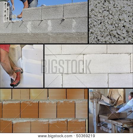 Collage brick wall