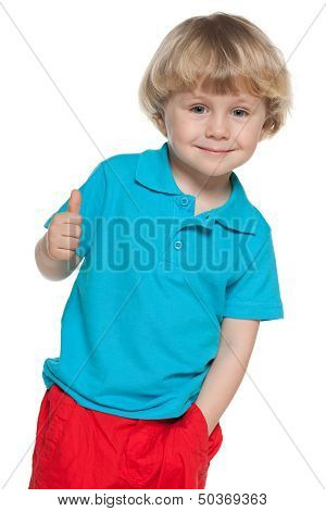 Cheerful Blond Boy In Blue Shirt