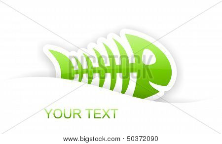 Green Glossy Fish Bone Sticker Notification