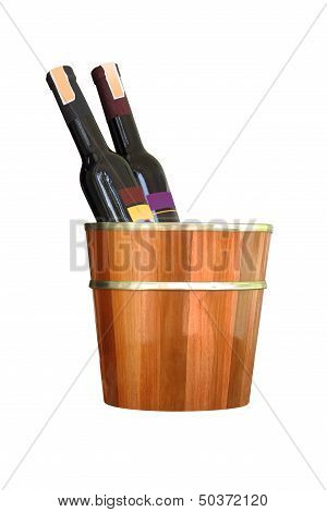 Bottles of wine in wooden bucket on white background.