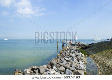 Pier Near Marken Lighthouse, Sunny Day