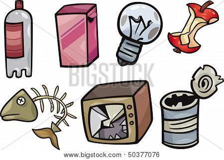 Garbage Objects Cartoon Illustration Set