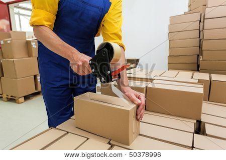 Worker With Tape Gun