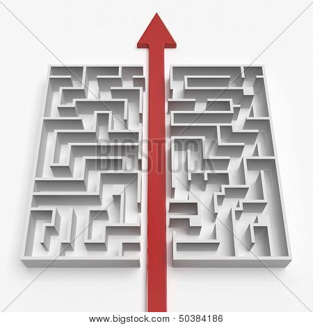 red straight line through the maze