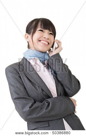 Young asian business woman using cell phone. Isolated on the white background.
