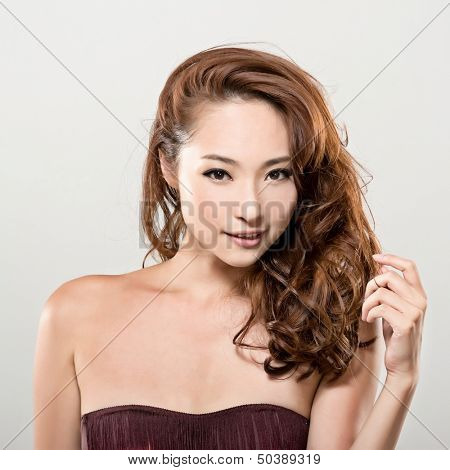 Asian beauty face closeup portrait with clean and fresh elegant lady. Studio shot.