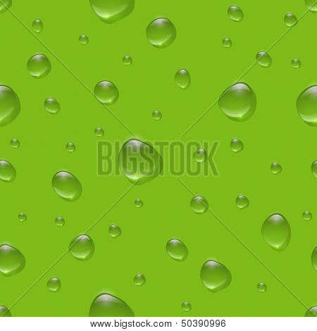 Seamless realistic water drops on color surface vector pattern. EPS10 - easy changeable background color.
