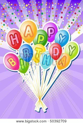Balloons.Vector Illustration of happy birthsday card
