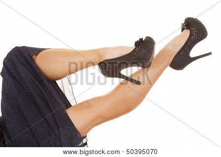 Woman Legs Blue Dress Heels Lay