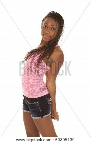Woman Pink Tank Stretch Arms Behind Back