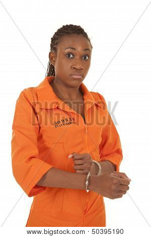 Woman Prisoner Orange Handcuff Looking