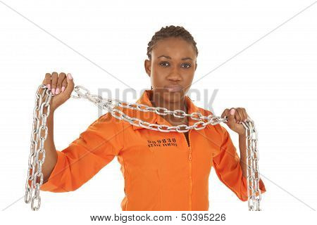 Woman Prisoner Orange Holding A Chain