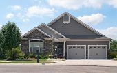 pic of stone house  - Small House with Two Car Garage - JPG