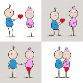 pic of love making  - Cute little boy and girl cartoon in different poses making love on abstract grey background - JPG