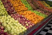 stock photo of grocery store  - a fruit display in a grocery store - JPG