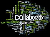 image of collaboration  - Collaboration concept in word tag cloud isolated on black background - JPG