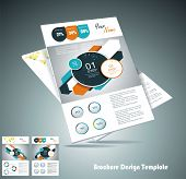 stock photo of pamphlet  - Two magazine or brochure cover layout design vector - JPG