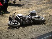 foto of crotch-rocket  - Downed bike after taking a turn too fast - JPG