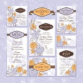 stock photo of dinner invitation  - Set of wedding cards - JPG