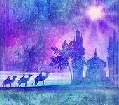 picture of desert christmas  - Classic three magic scene and shining star of Bethlehem  - JPG