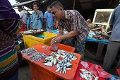 PADANG - AUGUST 25: A fishmonger attends to a customer in a stall at a village market in Padang, Wes