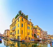 Venice Cityscape, Water Canal, Bridge And Traditional Buildings. Italy