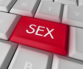 stock photo of pornographic  - A keyboard with a red key reading Sex - JPG