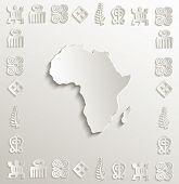pic of hieroglyphic symbol  - vector Africa map symbol frame paper 3D - JPG