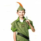 stock photo of fletching  - Young Robin Hood with sword isolated over white - JPG