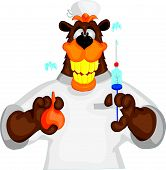 foto of enema  - Bear cheerful doctor with an enema  and syringe - JPG