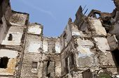 image of terrorist  - Destroyed building demolition earthquake bomb terrorist attack or natural disaster - JPG