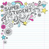 stock photo of terrific  - Super Student Back to School Praise Hand Lettering Sketchy Notebook Doodles - JPG