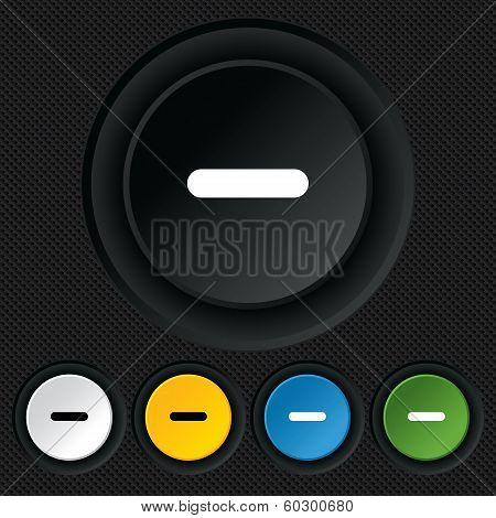 Minus sign icon. Negative symbol.