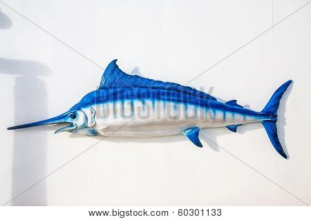 Blue And White Swordfish On White Wall