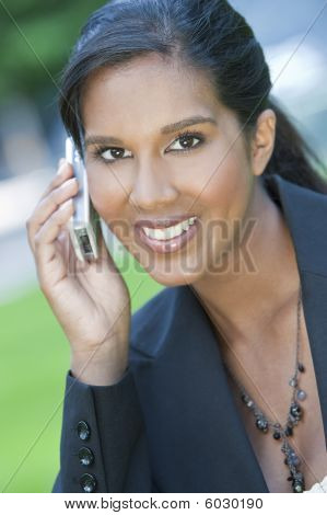 Beautiful Young Asian Woman On Her Cell Phone