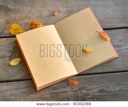 Open blank note book on grunge wood
