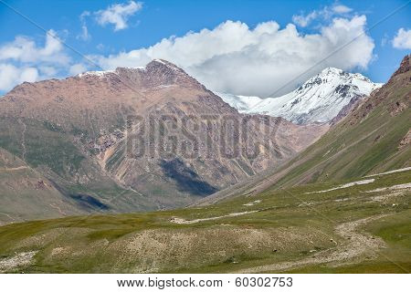 Landscape of mountains with snow peaks, Tien Shan