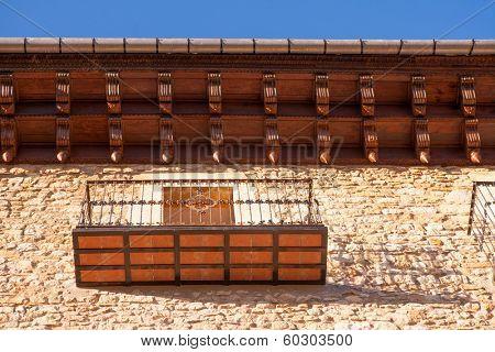 Morella in Maestrazgo castellon village facades at Spain