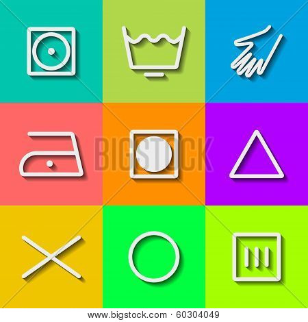 Set of Flat Wash Icons. Vector