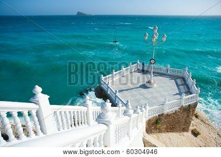 Benidorm balcon del Mediterraneo and sea from white balustrade Alicante Spain