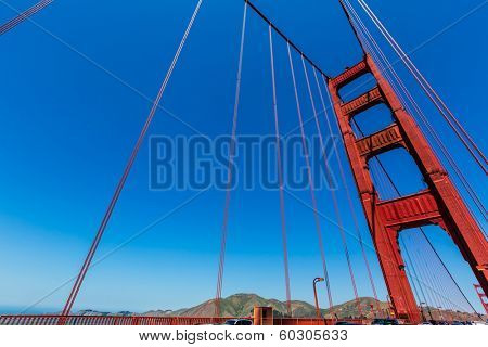 Golden Gate Bridge details in San Francisco California USA