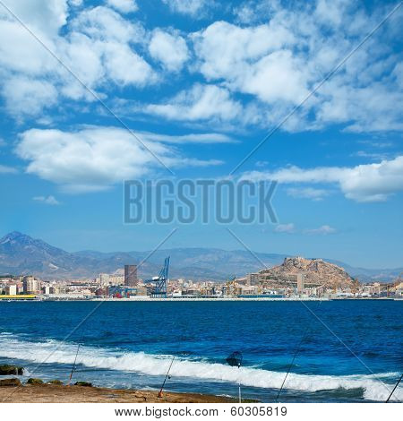 Alicante skyline downtown and port view from Mediterranean sea spain