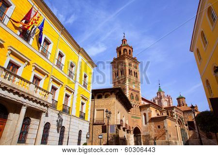 Aragon Teruel Cathedral and Ayuntamiento City Town Hall in Spain
