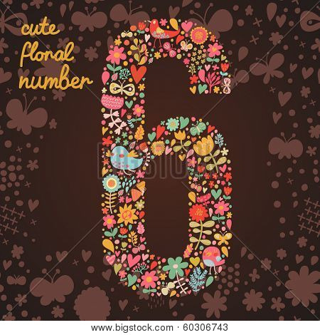 The number 6. Bright floral element of colorful alphabet made from birds, flowers, petals, hearts and twigs. Summer floral ABC element in vector
